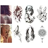 Luxspire Temporary Tattoo Stickers, 6-PACK Waterproof Removable Tattoos Sticker Fake Tattoo Easy to Apply and Long Lasting for Men Women Girls and Boys, Black & White Patterns (Color: Black & White Patterns)