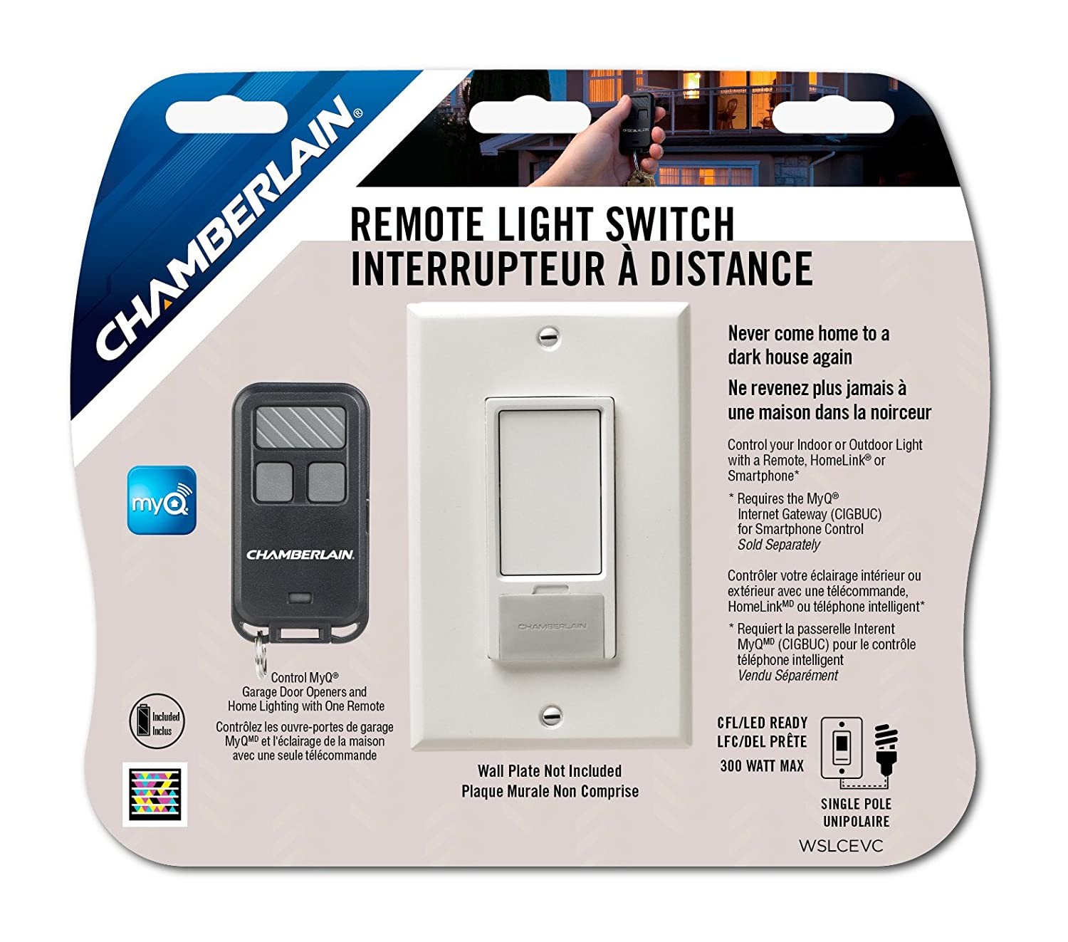 Chamberlain Wslcev Remote Control Light Switch New Free