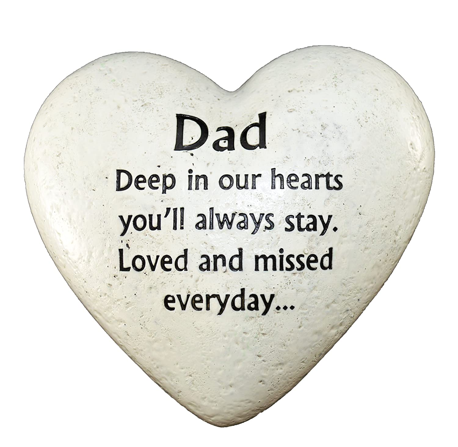 heart resin stone effect outdoor plaque graveside memorial ornament dad ebay. Black Bedroom Furniture Sets. Home Design Ideas