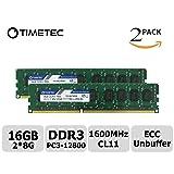Timetec Hynix IC 16GB Kit(2x8GB) DDR3L 1600MHz PC3-12800 Unbuffered ECC 1.35V CL11 2Rx8 Dual Rank 240 Pin UDIMM Server Memory Ram Module Upgrade (16GB Kit(2x8GB)) (Tamaño: 16GB KIT(2x8GB))