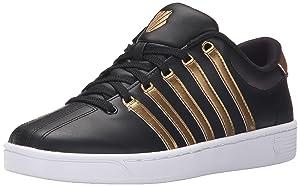 K-Swiss Women's Court Pro II CMF Metallic Athletic Shoe, Black/Gold, 6.5 M US