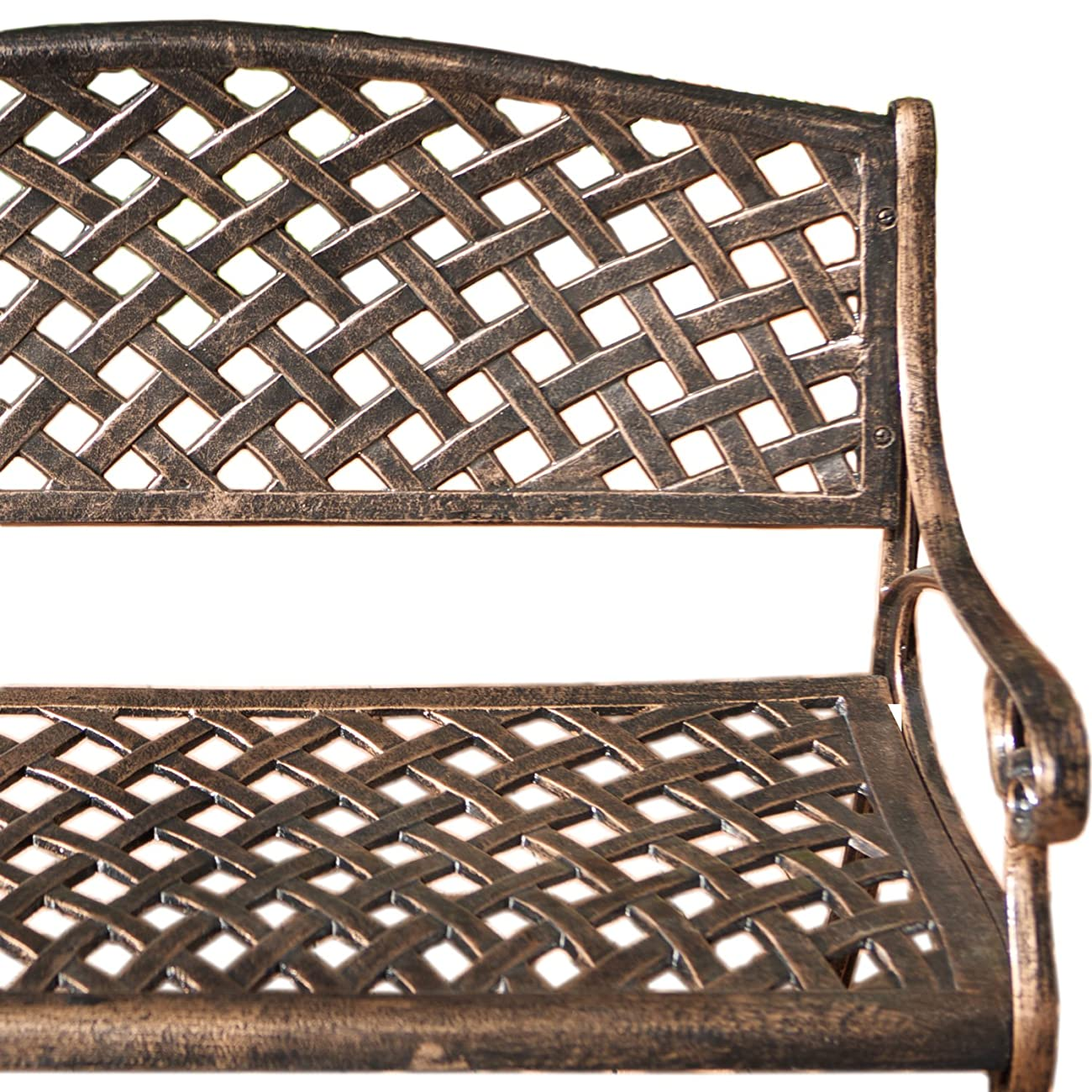Best Selling Cozumel Cast Aluminum Bench, Antique Copper Finish 1