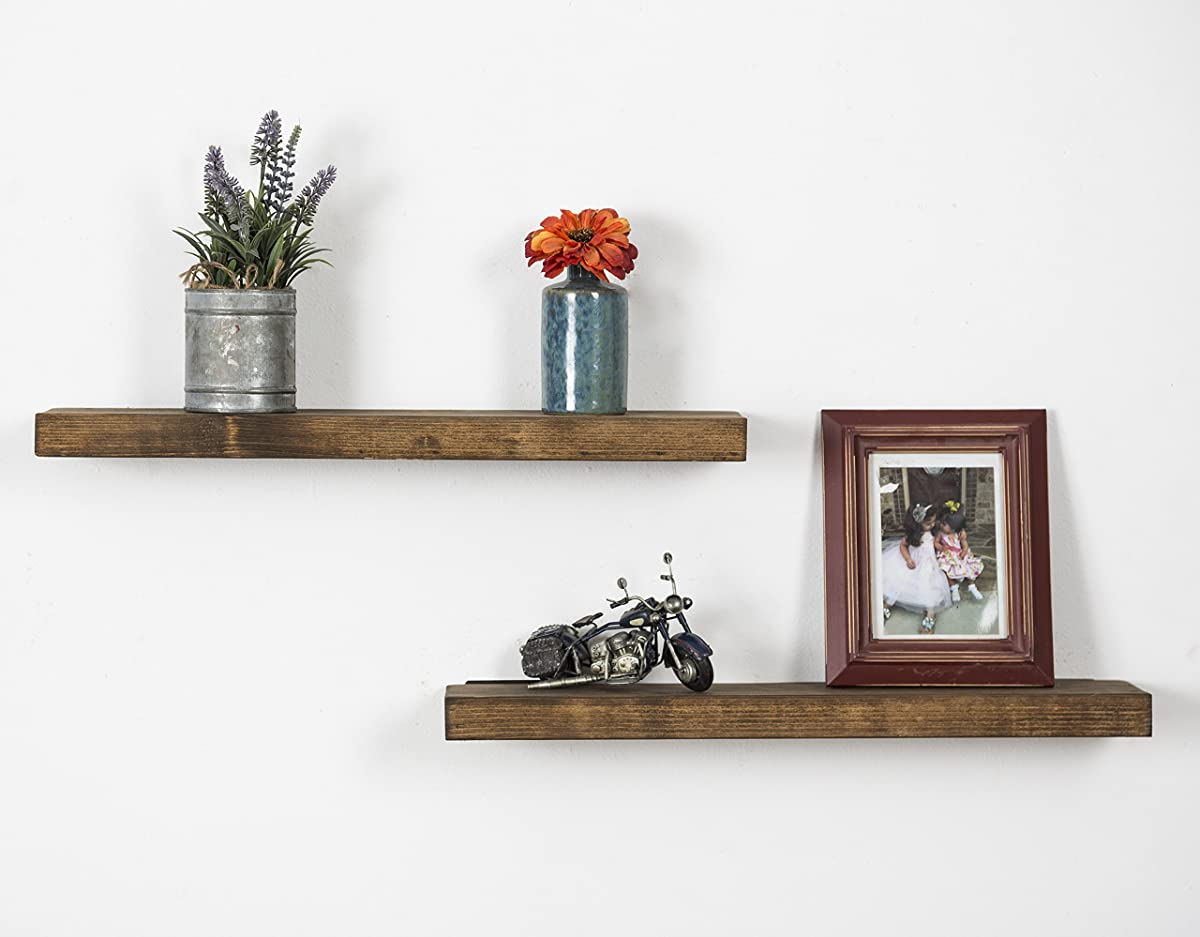 DAKODA LOVE Handmade Rustic Pine Wood (2 x 24 x 5.5-Inch) Floating Shelves, Walnut (Set of 2)
