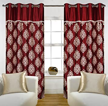 Red Curtains amazon red curtains : Buy Home Candy Eyelet Fancy Polyester 2 Piece Door Curtain Set ...