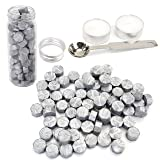 Silver Wax Seal Beads, Yoption 150 Pieces Octagon Sealing Wax Sticks Beads with Candle Melting Spoon for Wax Seal Stamp (Silver) (Color: Silver)