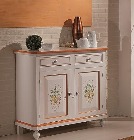 Credenza in legno finitura laccato bianco con decori, con 2 porte e 2 cassetti 113x103