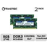 Timetec Hynix IC 8GB Kit (2x4GB) DDR3 1066MHz PC3-8500 Unbuffered Non-ECC 1.5V CL7 2Rx8 Dual Rank 204 Pin SODIMM Memory RAM Module Upgrade (8GB Kit (2x4GB)) (Tamaño: 8GB Kit (2x4GB))