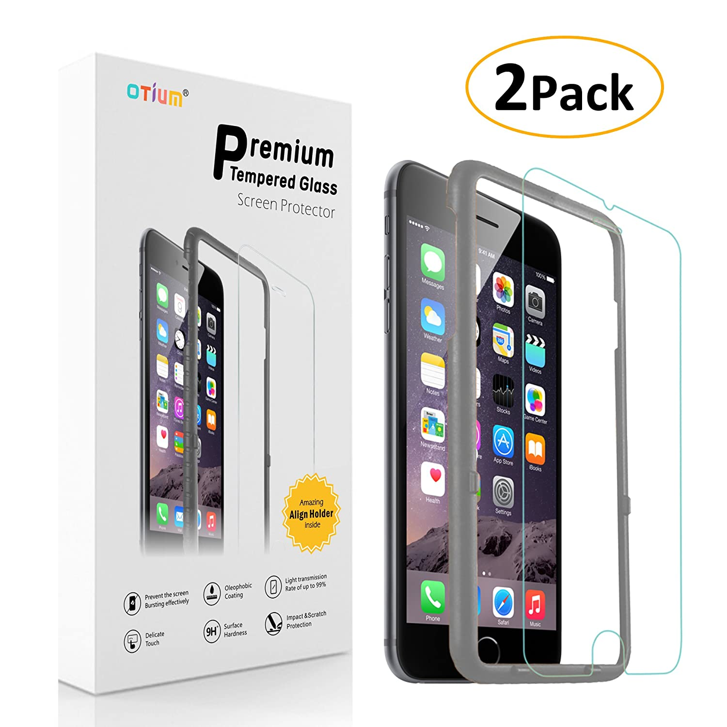 iPhone 6 6s Plus Screen Protector (2-Pack) Otium Tempered Glass Screen Protector with Applicator HD Oleophobic Anti Scratch Anti Fingerprint, Round Edge Ultra Clear for iPhone 6 6s Plus 5.5""