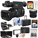 Panasonic HC-X1000 4K Ultra HD Wi-Fi Video Camera Camcorder with Fisheye Lens + 64GB Card + Case + LED Light Set + Microphone Set + Accessory Kit (Color: Black)