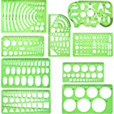 Hestya 9 Pieces Drawings Templates Measuring Geometric Rulers Plastic Draft Rulers for School Office Supplies, Clear Green (Color: Clear Green)