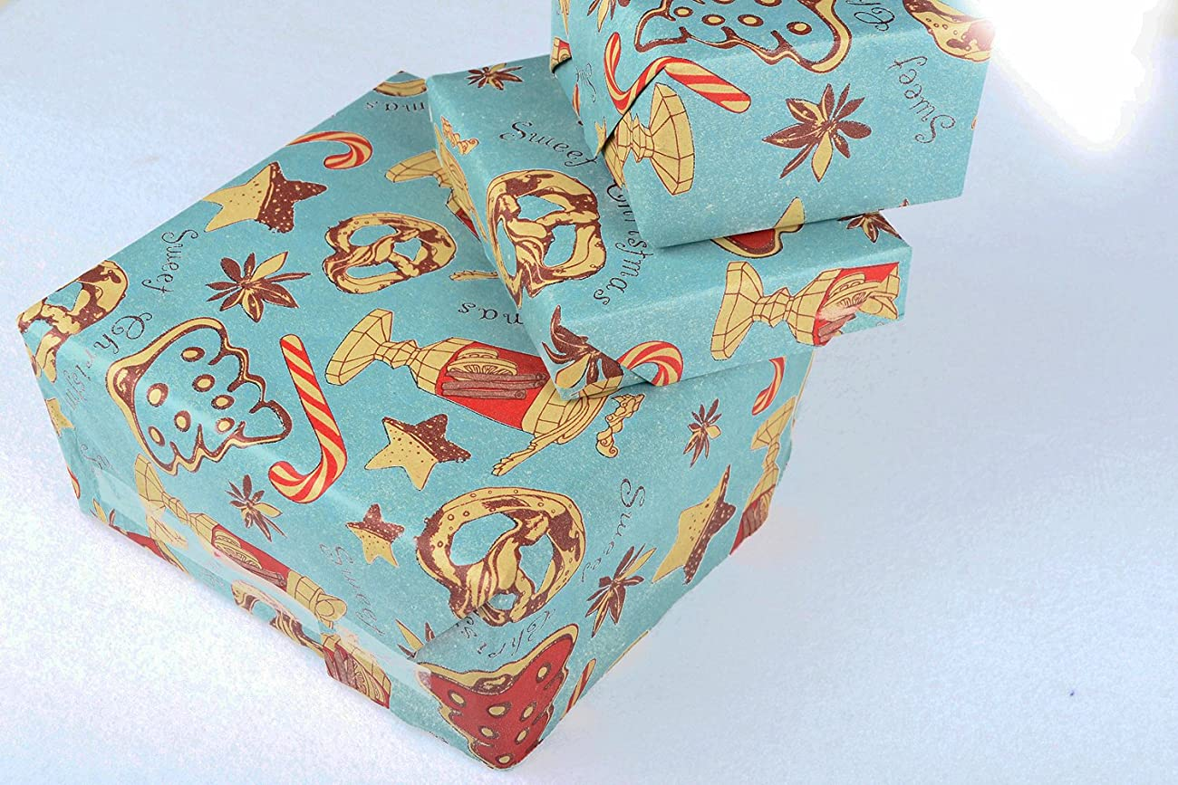 Retro Christmas Kraft Wrapping Paper Sets (Reindeer-Mistletoe-SodaShoppe on Brown Kraft) 3