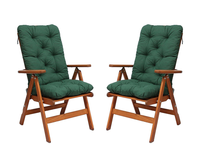 Ambientehome 90488 2er Set verstellbar Hochlehner Stranda braun inkl. grüne Auflage Gartenstuhl Holzstuhl ANGEBOT online kaufen