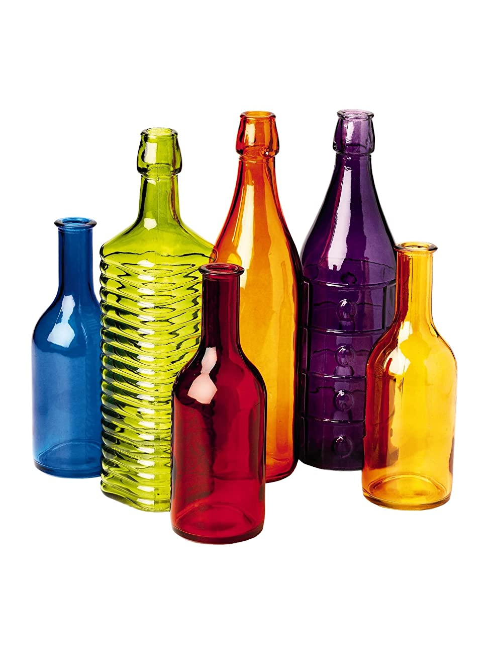 Colored Bottle Tree Bottles, Set of 6 1