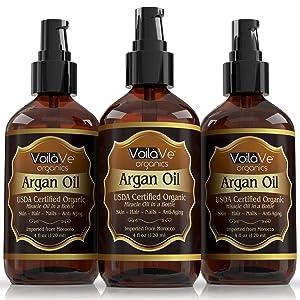 Virgin USDA Organic Moroccan Argan Oil for Hair & Skin, 4 fl. oz. USDA & ECOCERT Certified, Cold-Pressed, Unrefined 100% Pure Argan Oil for Skin, Hair & Nails – Convenient Pump Bottle (Tamaño: 4 Ounces)