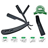 Professional Straight Edge Razor Safety || Stainless Steel Classic Matte Black Folding Straight Vintage Razor for Barbershop and Personal - Close Saving Men's Manual (Color: Black)