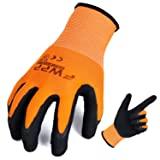 FWPP High Visibility Nylon Latex Foam Coated Work Gloves,Breathable Soft Wearproof Non-slip Comfortable Safety Protective Glove Pack of 12Pairs Large Fluorescence Orange (Color: Orange, Tamaño: Large-12Pairs)