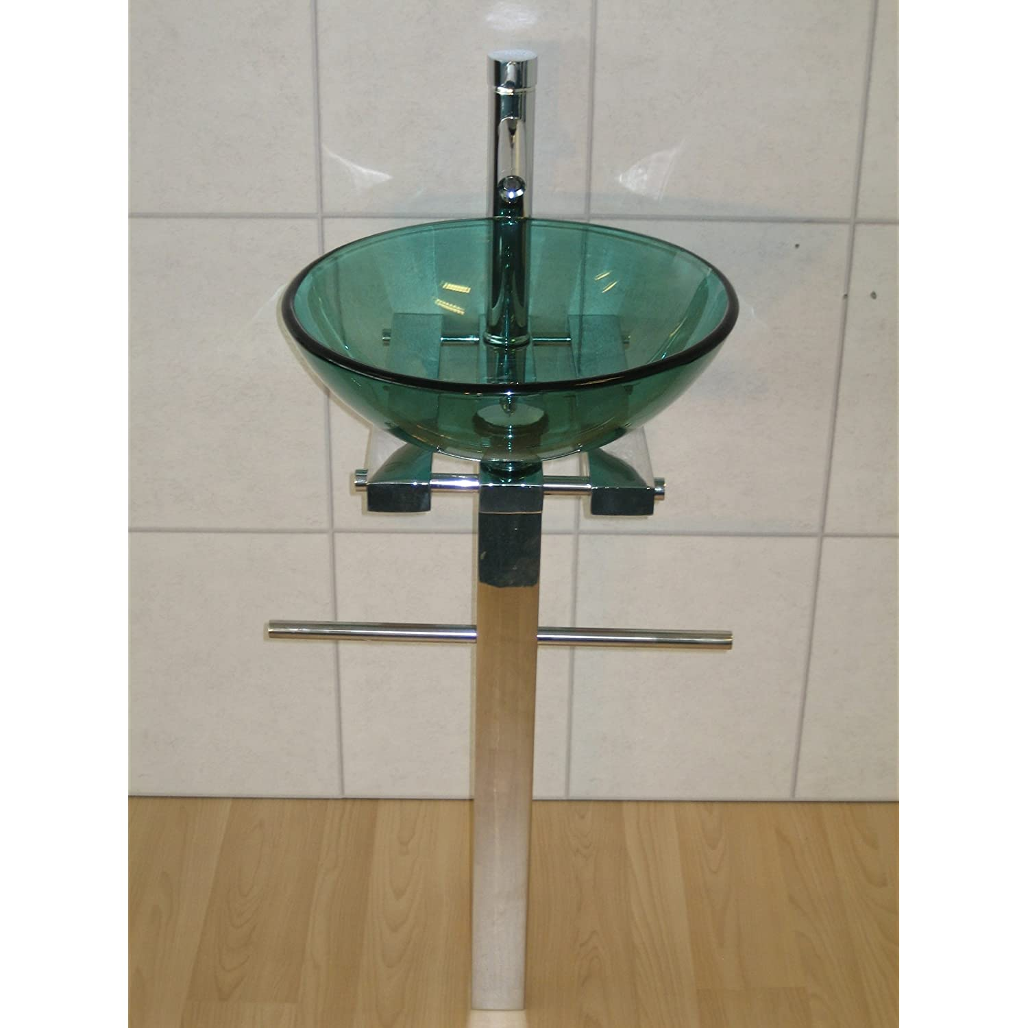 Round Pedestal Sink : ... Bathroom Sink Round Green Glass Wash Basin Pedestal Tap Trap Waste