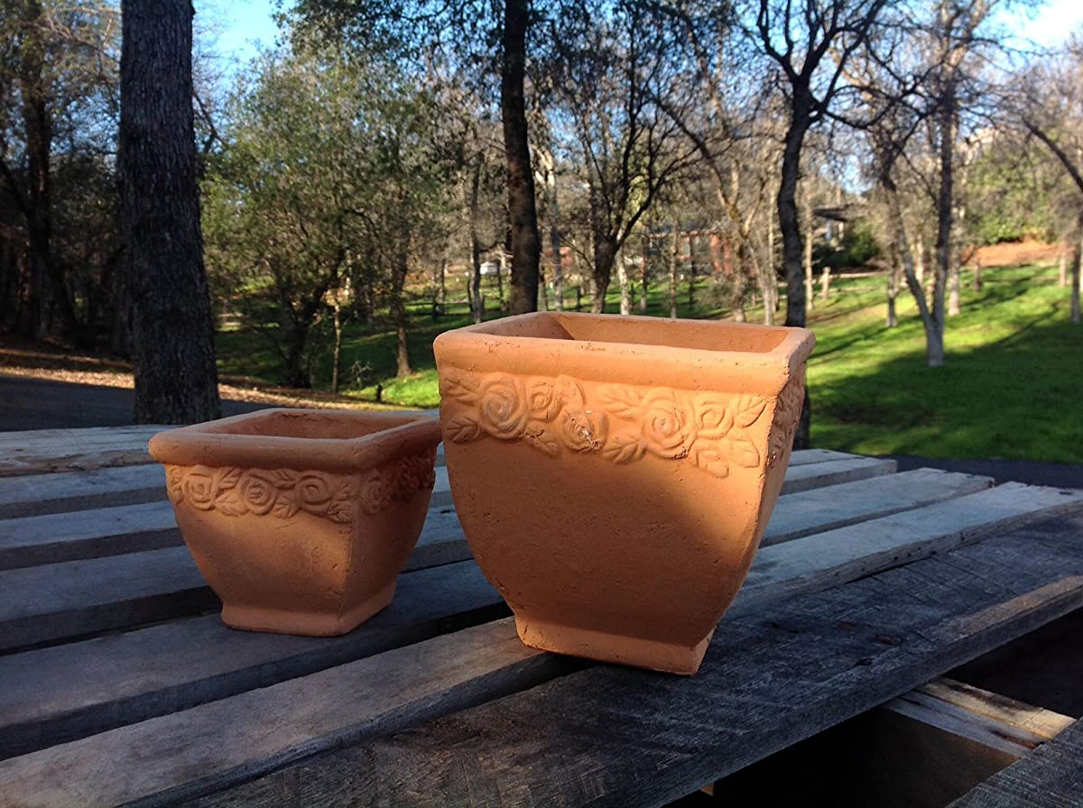 Set of 2 New Designed Hand Pressed Different Sized Ancient Stressed Terracotta Square Flower Pot or Planter