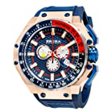 Brera Orologi Men's Gran Turismo Rose Gold, Blue, White and Red Accent 48m BRGTC5405 (Color: Rose Gold, Blue, White and Red Accent 48mm, Tamaño: Large)
