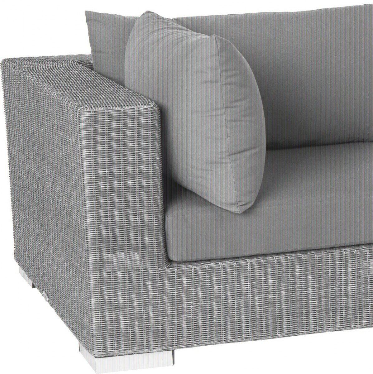 Dreams4Home Eckelement 'Quincy' – Sitz, Sofa, Stuhl, Eckelement, Terrassenmöbel, Loungemöbel, Cocktailmöbel, B/H/T: 87 x 64,5 x 87 cm, Gartenmöbel inklusive Kissen, Rattan, Aluminiumgestell, in grau kaufen