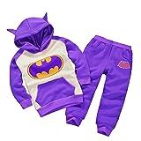 Batman Hoodie and Pants Superhero Set (1-2 Years, Purple)