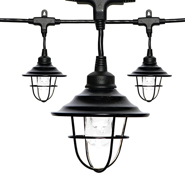 Enbrighten Classic LED Café String Lights with Oil-Rubbed Bronze Lens Shade, Black, 48ft, 24 Impact Resistant Lifetime Bulbs, Premium, Shatterproof, Weatherproof, Indoor/Outdoor, UL Listed, 43365 (Color: Black Oil Rubbed Bronze, Tamaño: 48 ft.)