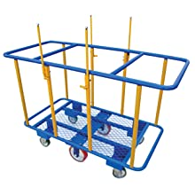 "Vestil PANEL-H Horizontal with Lower Wire Deck Shelf Panel Cart, 2000 lbs Load Capacity, 41"" Height, 64"" Length x 31"" Width"