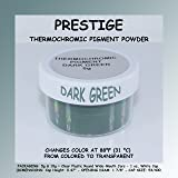 Prestige THERMOCHROMIC Pigment That Changes Color at 88°F (31 °C) from Colored to Transparent (Colored Below The Temperature, Transparent Above) Perfect for Color Changing Slime! (5g, Dark Green) (Color: DARK GREEN, Tamaño: 5g)