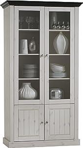 Steens 31712713 Vitrine Monaco 190 x 104 x 46.5 cm in Kiefer massive, weiß und dunkelbraun  Überprüfung und Beschreibung