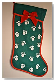 Dog Christmas Stocking Green Filled With Gifts