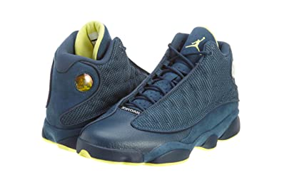 Mens Nike Air Jordan Retro 13 Basketball Shoes Squadron Blue / Electric Yellow / Black 414571