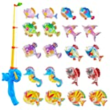 Bath Toy,Gudi Toy (21 Piece) Magnetic Fishing Games,Floating Fishing Toy in Bathtub Bathroom Pool Bath Time for Boys Girls Toddler Child,Summer Water Toys Fishing Toy for Kids Party Favors