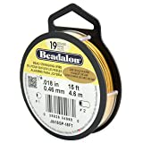 Beadalon 19-Strand Bead Stringing Wire, 0.018-Inch, Gold Plated, 15-Feet (Color: Gold Plt.)