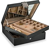 Glenor Co 28 Section Jewelry Box - 2 Layer - Buckle Snap & Magnet Closure - Large Mirror - Leather Design - Black - Jewelry Organizer for Women & Girls - Holder for Earring Ring Necklace & Bracelet (Color: Black)