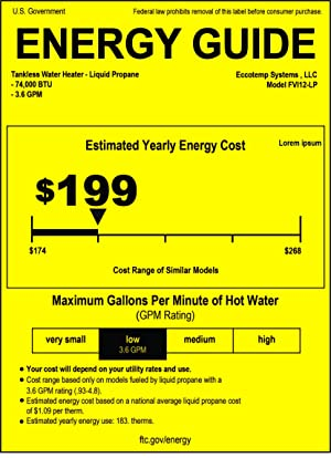 Eccotemp FVI12-LP Liquid Propane Gas Tankless Water Heaters, White (Color: White, Tamaño: 11-50 Gallons)