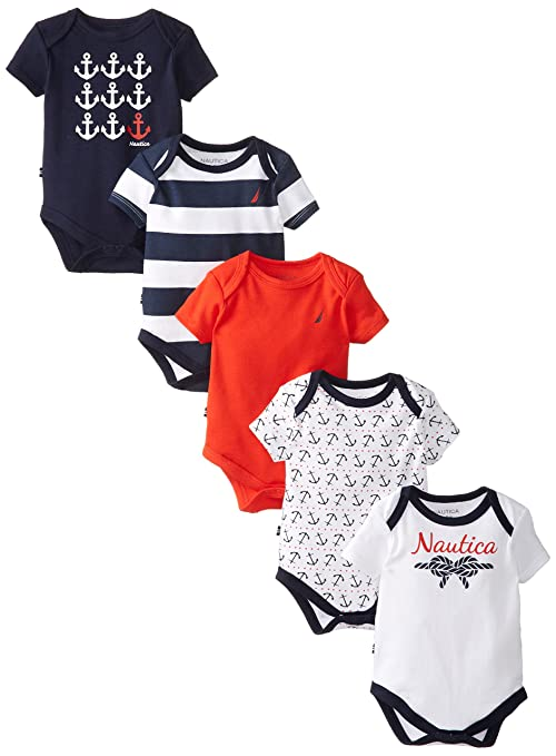 Nautica Baby-Girls Newborn Assorted Multi Pack Baby Girl Bodysuits, Assorted, 3 Months