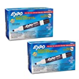 Expo 80001 Low Odor Chisel Point Dry Erase Markers, Low Odor Alcohol-Based Ink, Designed for Whiteboards, Glass and Most Non-Porous Surfaces, Black, 12 Units per Box, Pack of 2 Boxes, 24 Markers Total (Color: Black, Tamaño: 2 Pack)