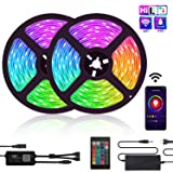 LED Strip Lights, TATUFY WiFi 32.8ft/10M 300LEDs Color Changing Rope Lights 5050 RGB Light Strips with Alexa Google APP Controller, Waterproof Tape Lights Sync with Music Apply for Home Kitchen (Color: Rgb+white, Tamaño: 32.8FT)
