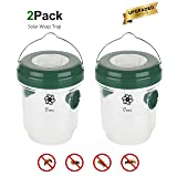 Wasp Trap - Solar Powered Trap with Ultraviolet LED Light for Trapping Wasps, Bees, Hornets and Yellow Jackets - 2 Reusable Hanging Trap for Home Garden and Outdoor Spaces. (Color: Dark Green, Tamaño: 2 Pack)