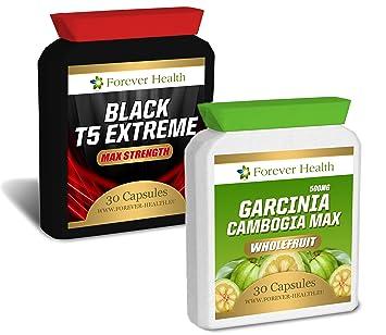 Garcinia Cambogia PURE + T5 Black Extreme Fatburner - Verlieren Sie Bis 7.5 Kilos in 12 Wochen ! 30 Pillen T 5 Black Extrem Enthält Gruner Tee Fur Super Schnellen Gewichtsverlust - Unglaublicher Fett Burner + Gratis Diät-Plan - Speziell Entwicke
