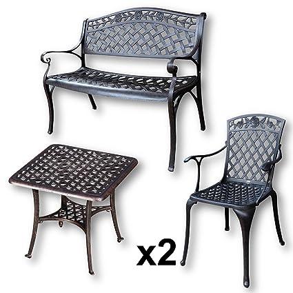 Lazy Susan - SANDRA Quadratischer Kaffeetisch mit 1 ROSE Gartenbank und 2 ROSE Stuhlen - Gartenmöbel Set aus Metall, Antik Bronze