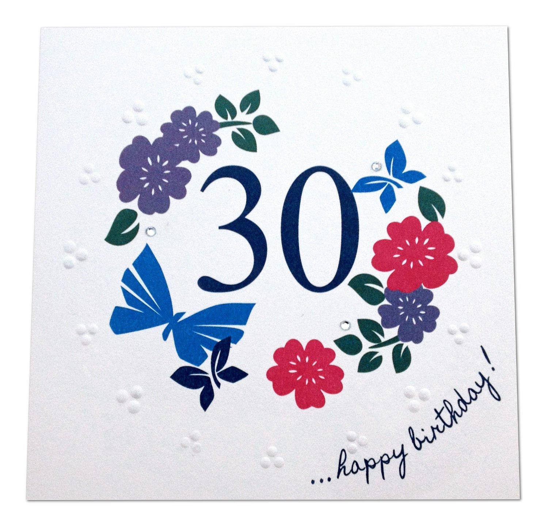 '30th Happy Birthday!' Luxury Card by UK Designer Jane Vanroe - 100% British Made, Embossed