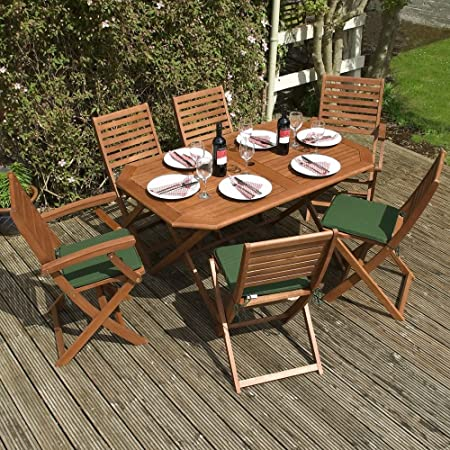 Wooden Garden Furniture Set - 6 Seater Folding Dining Set - This 7 Piece Table & Chairs Set Is The Perfect Outdoor Living Addition To Your Patio, Made From FSC Certified Eucalyptus Hardwood *Includes 6 Green Seat Cushions*