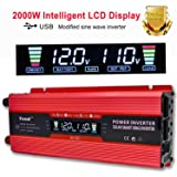 IpowerBingo 1000W/2000W Power Inverter Dual AC Outlets and Dual USB Charging Ports DC 12V to 110V AC Car Converter with Digital Display (Color: 1000LCD, Tamaño: 1000W+LCD)