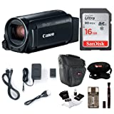 Canon VIXIA HF R800: 1080p HD Video 57x Zoom Camcorder Bundle with 16GB SD Card Video Camera Case and Cleaning Kit - Compact and Affordable Camcorder Kit (Color: Black)