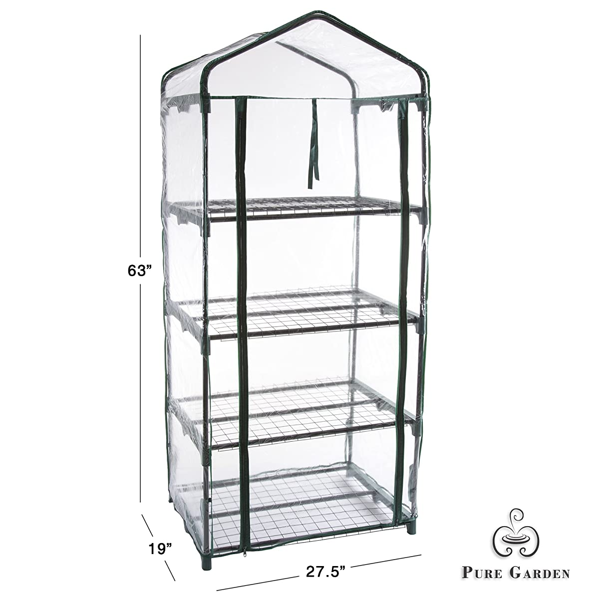 "Pure Garden 4 Tier Mini Greenhouse with Cover, 27.5 x 19 x 63"""