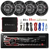 Pioneer DEH150MP Car Stereo CD Player Receiver - Bundle Combo With 4x Crunch CS653 6.5 3-Way Black Coaxial Speaker + 1000 Watt Amplifier + Enrock Amp Installation Kit