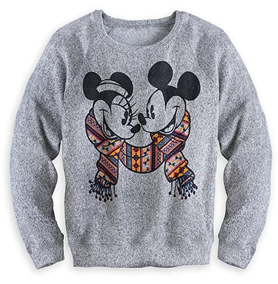 Disney Parks Mickey and Minnie Mouse Gray Adult Sweater for Women