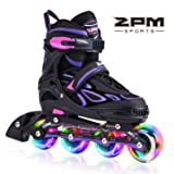 2PM SPORTS Vinal Girls Adjustable Inline Skates with Light up Wheels Beginner Skates Fun Illuminating Roller Skates for Kids Boys and Ladies - Violet L (Color: Violet & Magenta, Tamaño: Large - Youth (5-8 US))