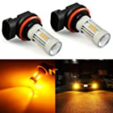 JDM ASTAR 2600 Lumens Extremely Bright 3030 Chipsets H11 Amber Yellow LED Bulbs for DRL or Fog Lights (Tamaño: H11 Yellow)